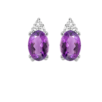 10K White Gold Color Ensembles Prong Amethyst Earrings 1/25CT
