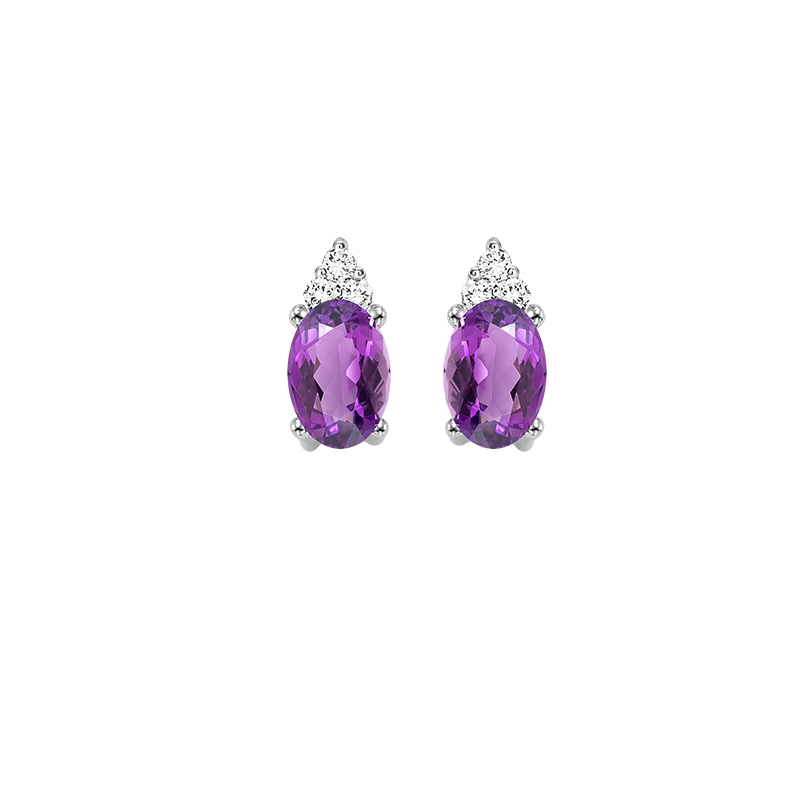 Gems One 10K White Gold Color Ensembles Prong Amethyst Earrings 1/25CT