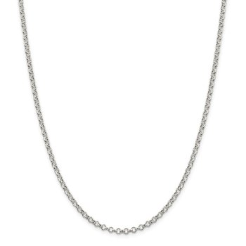 Sterling Silver 3mm Semi-solid Rolo Chain