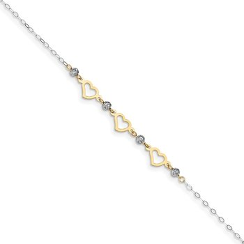 14K Two-tone Oval Link Diamond-cut Beads and Heart 9in Plus 1in Ext Anklet
