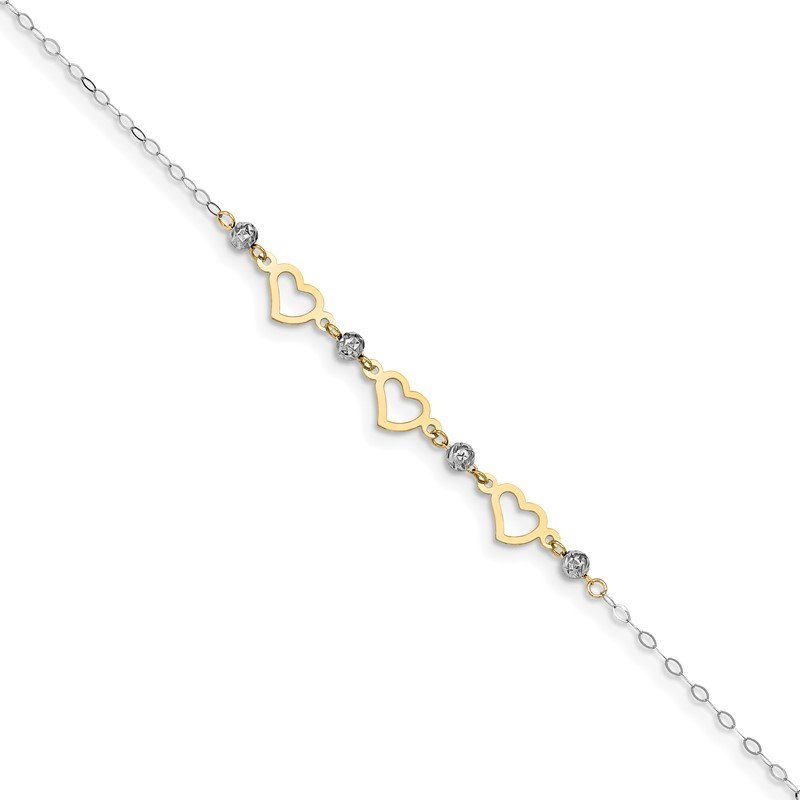 Quality Gold 14K Two-tone Oval Link Diamond-cut Beads and Heart 9in Plus 1in Ext Anklet
