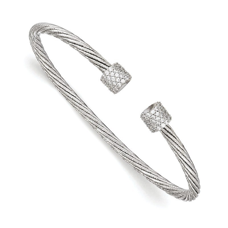 Leslie's Leslie's Sterling Silver Rhodium-plated CZ Flexible Cuff Bangle