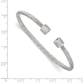 Leslie's Sterling Silver Rhodium-plated CZ Flexible Cuff Bangle