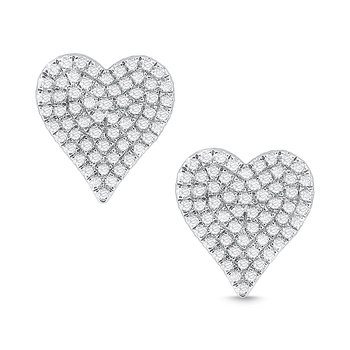 14k Gold and Diamond Pave Heart Earrigns