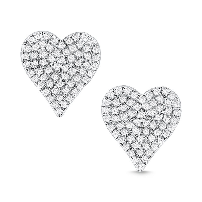 KC Designs 14k Gold and Diamond Pave Heart Earrigns