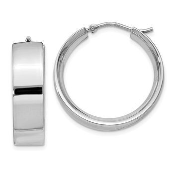 Sterling Silver Rhodium-plated 6.75x25mm Hoop Earrings