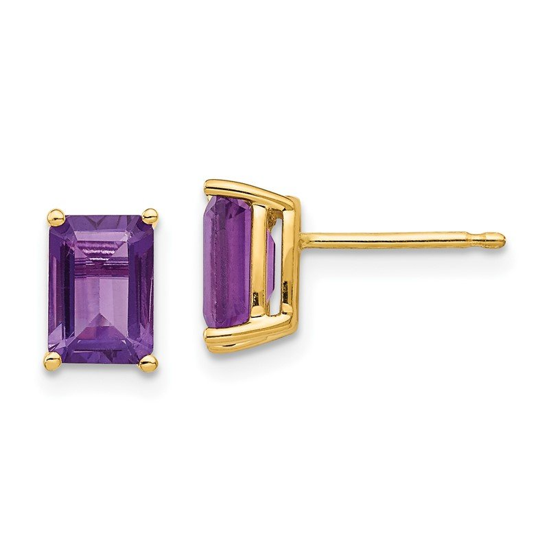 Fine Jewelry by JBD 14k 7x5mm Emerald Cut Amethyst Earrings
