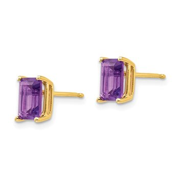 14k 7x5mm Emerald Cut Amethyst Earrings