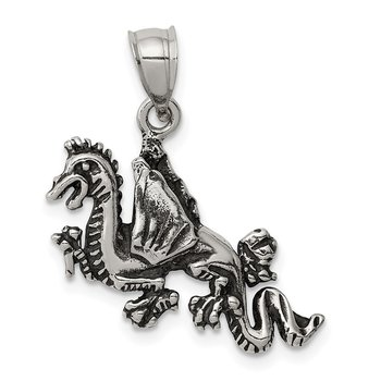 Sterling Silver Antiqued Flying Dragon Pendant