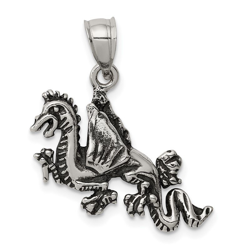 Quality Gold Sterling Silver Antiqued Flying Dragon Pendant