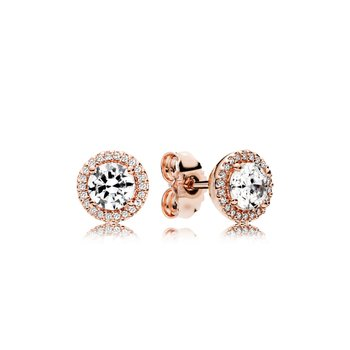 Classic Elegance Stud Earrings, Pandora Rose™ Clear Cz
