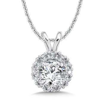 Diamond Round Halo Pendant with Split Bale in 14K White Gold (1ct. tw.)