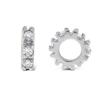 Diamond Slip-On Spacer in 14k White Gold with 7 Diamonds weighing .10ct tw.