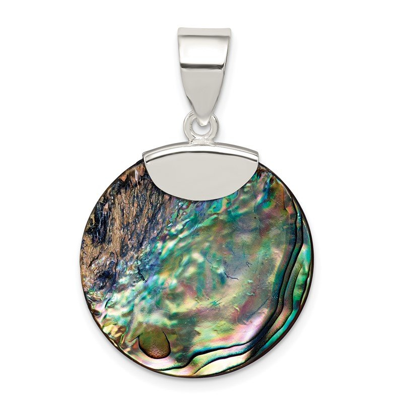 Quality Gold Sterling Silver Round Abalone Pendant