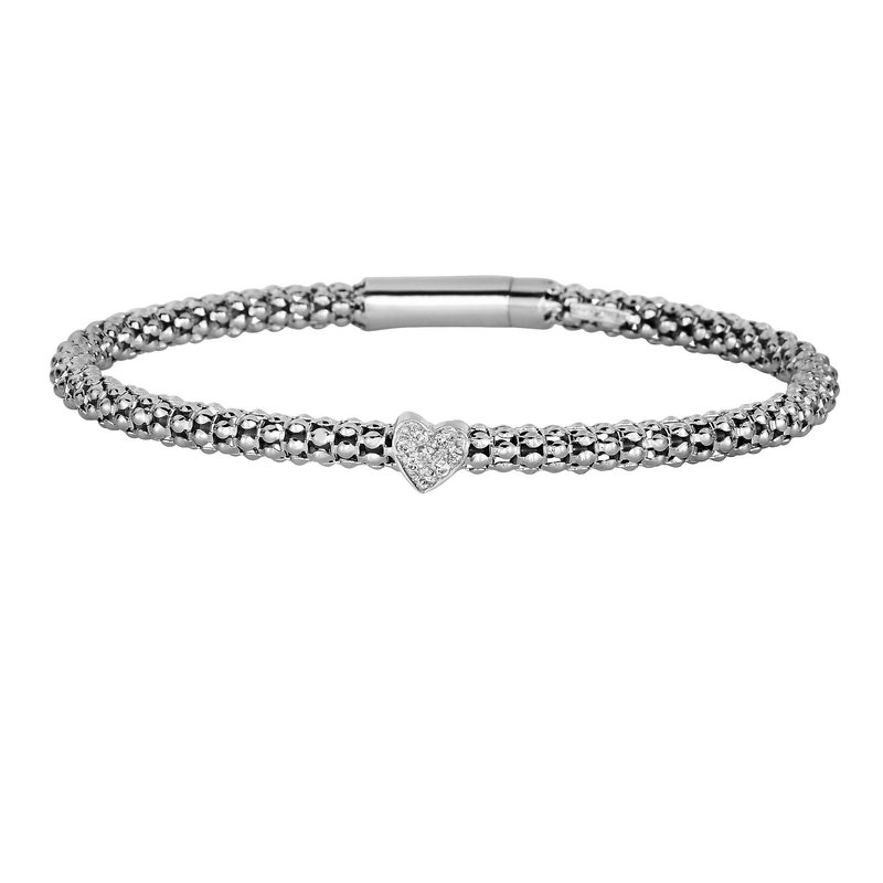Royal Chain Sterling Silver .08ct. Dia Popcorn Bangle