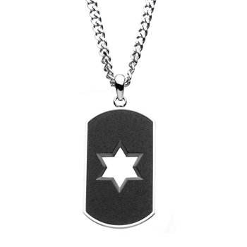 Stainless Steel and Sand  Finish Open Star Dog Tag Pendant with Steel Curb Chain