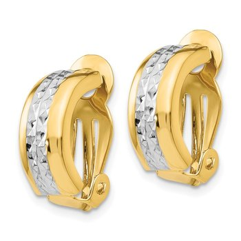 14k Polished & Rhodium Non-pierced Earrings