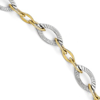 Leslie's 10K Two-tone Polished and Textured Link Bracelet
