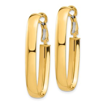 14k High Polished 5mm Oval Omega Back Hoop Earrings