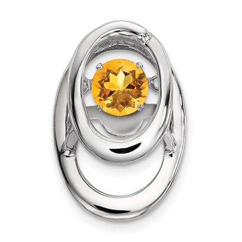 Sterling Silver Rhodium Citrine Birthstone Vibrant Chain Slide