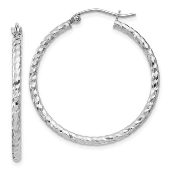 Sterling Silver Rhodium Plated Diamond-cut 2x30mm Hoop Earrings