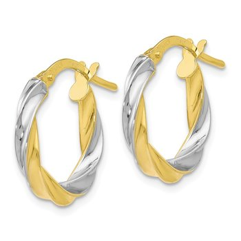 Leslie's 10K Yellow & White Rhodium Plating Polished Hoop Earrings