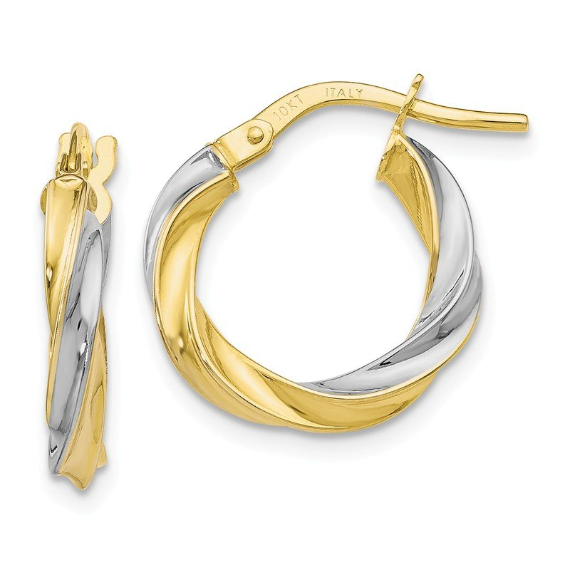 Leslie's Leslie's 10K Yellow & White Rhodium Plating Polished Hoop Earrings
