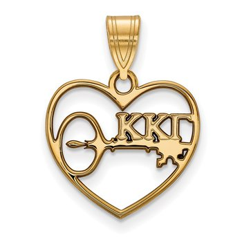 Gold-Plated Sterling Silver Kappa Kappa Gamma Greek Life Pendant