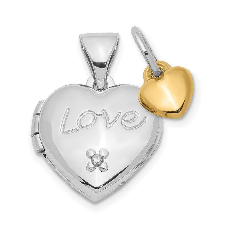 Quality Gold Sterling Silver Rhodium-plated w/Gold-plated Dia w/ Charm Heart Locket