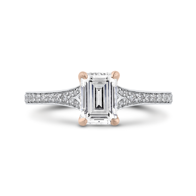 Carizza 14K Two-Tone Gold Emerald Cut Diamond Engagement Ring (Semi-Mount)