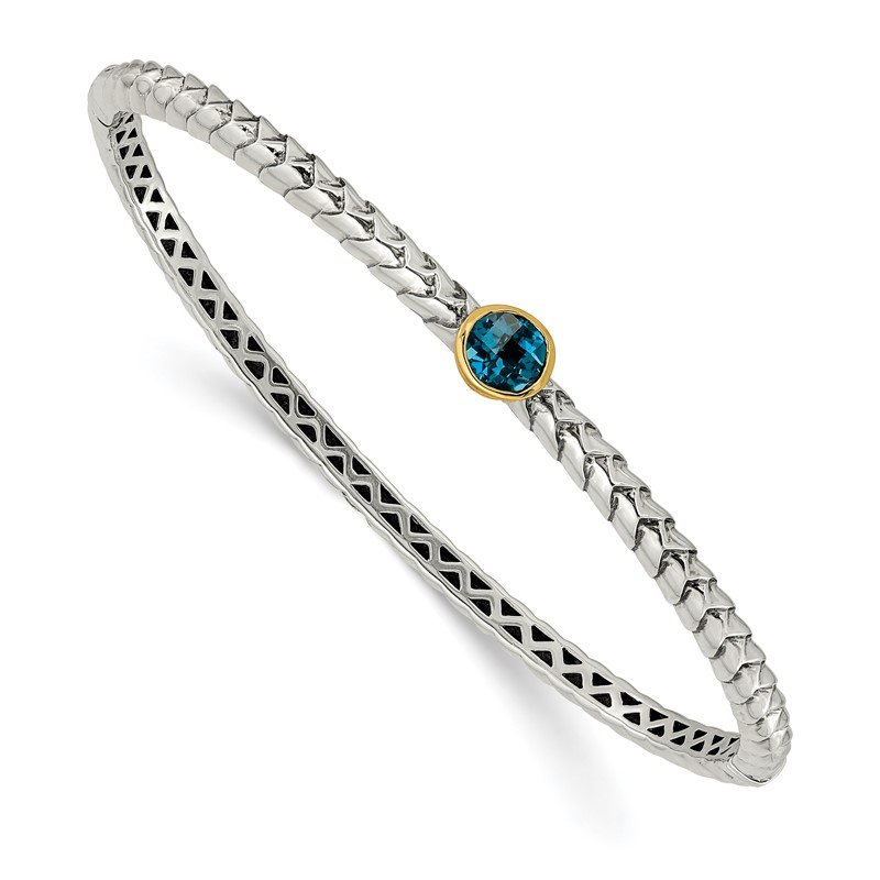 Quality Gold Sterling Silver w/14k London Blue Topaz Bangle