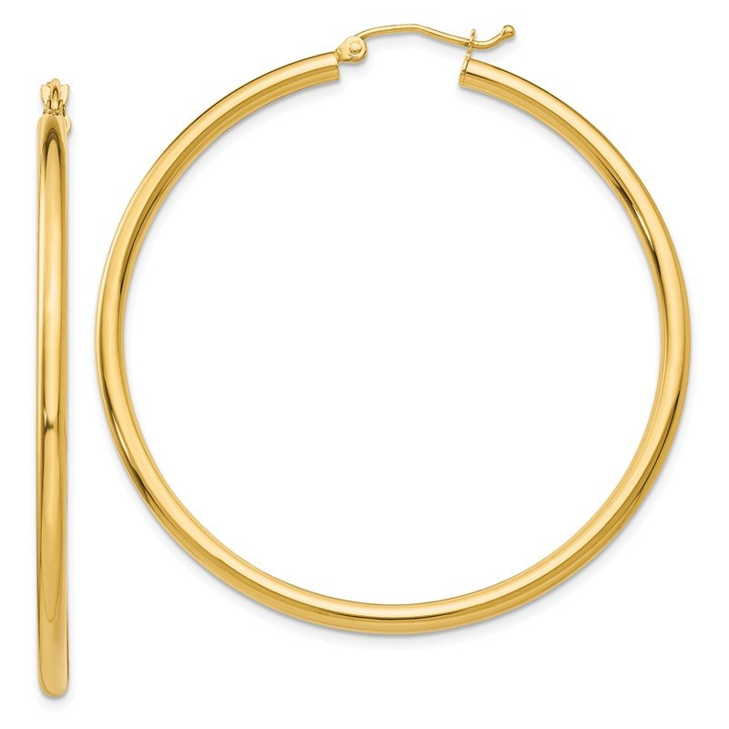 Quality Gold 14K Polished 2.5mm Lightweight Tube Hoop Earrings