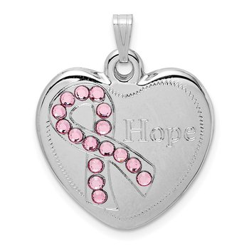Sterling Silver Rhodium-plated Pink Crystal Hope Heart Pendant