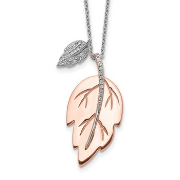 Sterling Silver Rose-tone CZ Leaf w/ 2in ext. Necklace