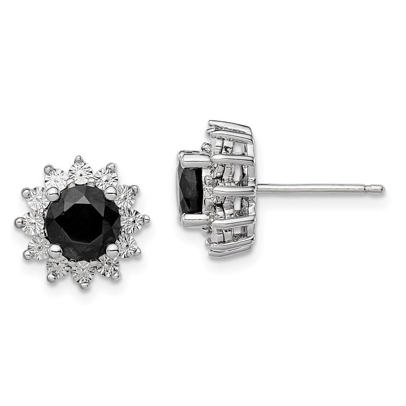 Quality Gold Sterling Silver Rhodium-plated Black Sapphire Post Earrings