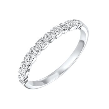 Diamond Geometric Milgrain Stackable Band in 10k White Gold