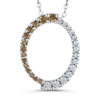 Essentials 10K White Gold 1/3 ct White Diamond & Brown Diamond Fashion Pendant with Chain