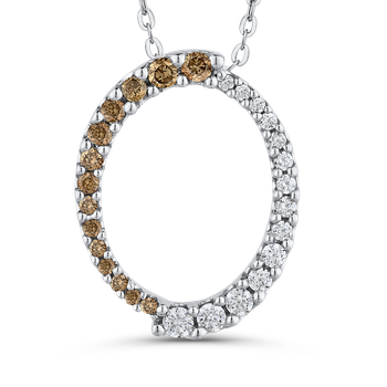 10K White Gold 1/3 ct White Diamond & Brown Diamond Fashion Pendant with Chain