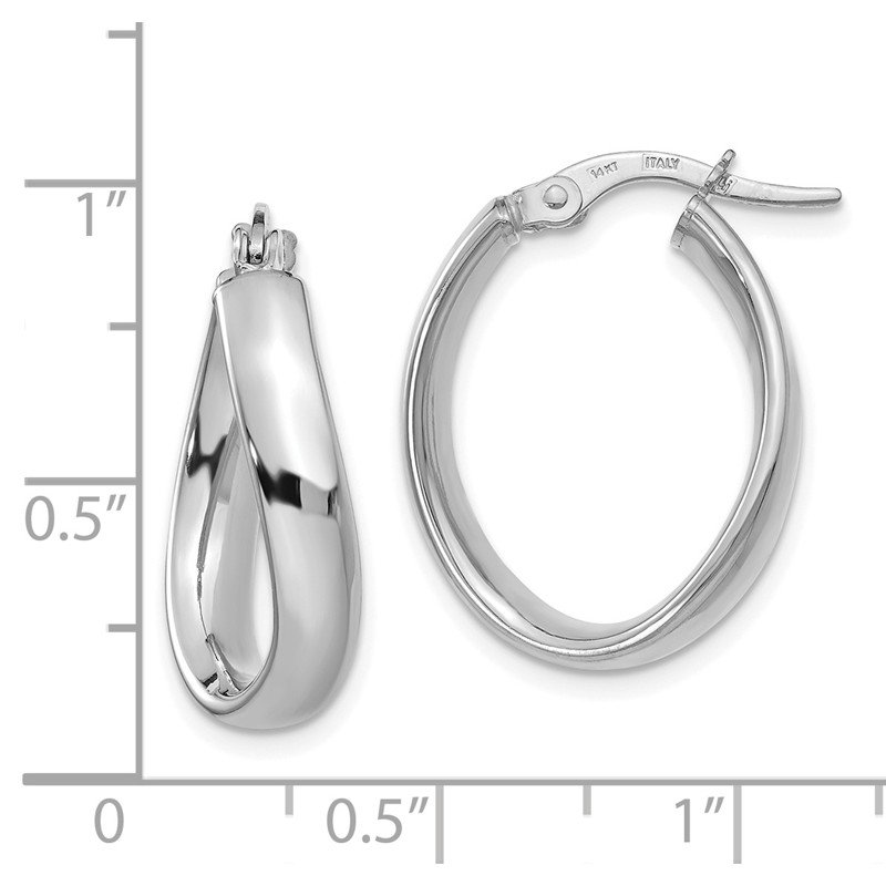 Leslie's Leslie's 14K White Gold Oval Polished Hoop Earrings