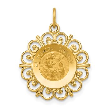 14k Polished/Satin Spanish 1st Communion Medal Hollow Pendant