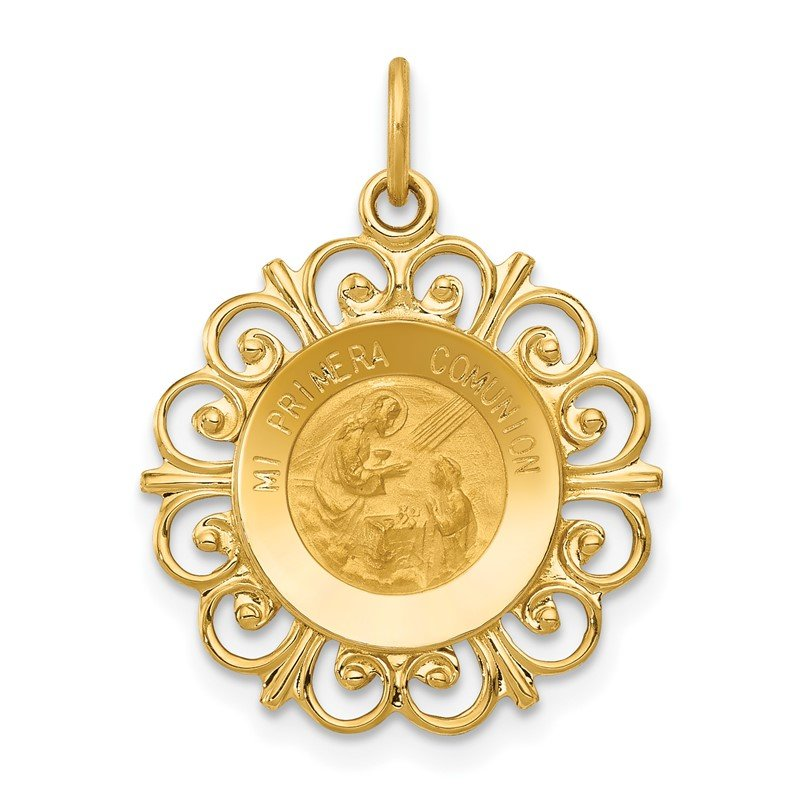 Quality Gold 14k Polished/Satin Spanish 1st Communion Medal Hollow Pendant