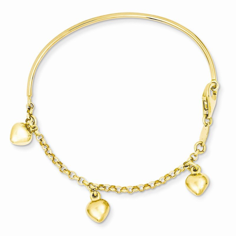 Quality Gold 14k Polished Dangle Heart Baby Bracelet