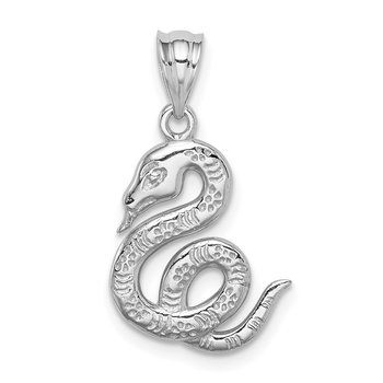 14K White Polished Snake Pendant