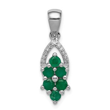 Sterling Silver Rhodium-plated Diamond & Emerald Pendant