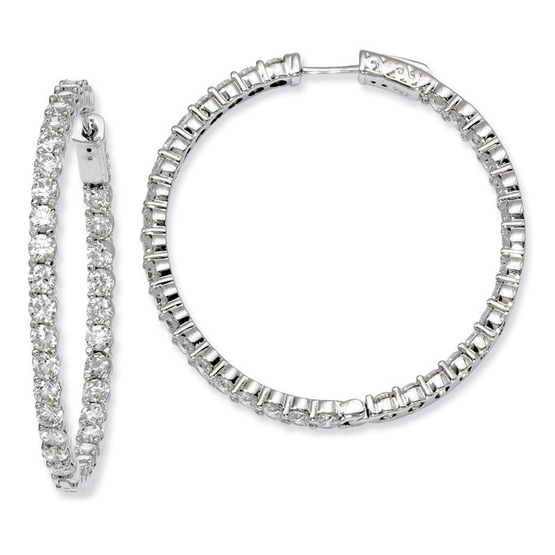 Fine Jewelry by JBD Sterling Silver Rhodium-plated CZ In and Out Hinged Hoop Earrings