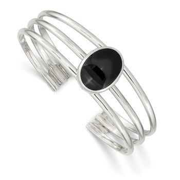 Sterling Silver Onyx Three Strand Cuff Bangle Bracelet