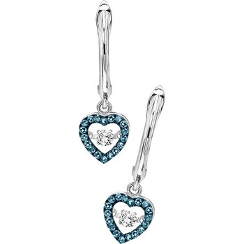 14K Blue & White Rhythm Of Love Earrings 1/5 ctw