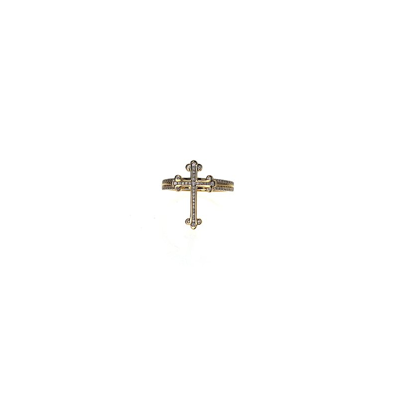 King Baby 18K Gold Cross With Diamond Pave And Double Row Pave Band