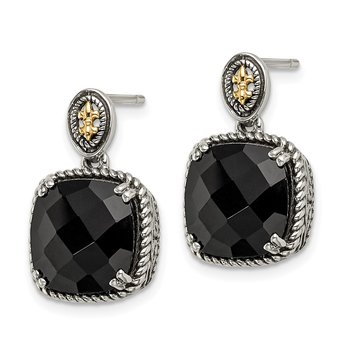 Sterling Silver w/14k Onyx Dangle Post Earrings