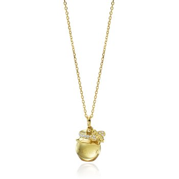 "Honeybee ""B"" Diamond & Citrine Honey Pot Pendant P313DY"